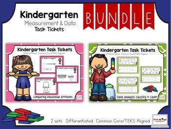Kindergarten Mini Bundle: Measurement: Task Tickets (Diffe