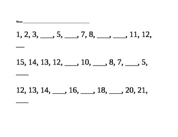 Kindergarten Missing Numbers Pack