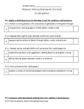 Kindergarten Missouri Writing Standards Checklist