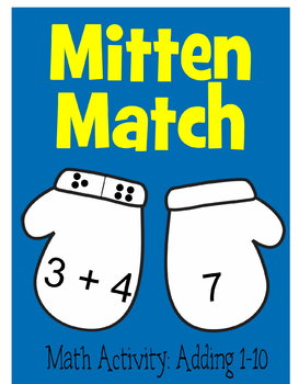 Kindergarten Mitten Match Math Game