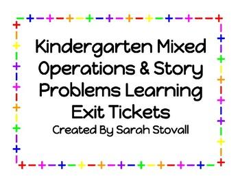 Kindergarten Mixed Operations & Problem Solving Exit Tickets