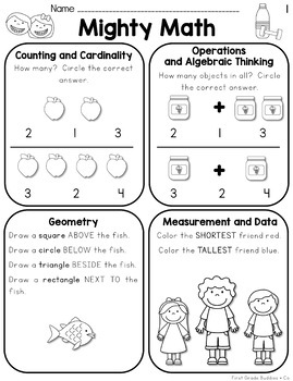 Kindergarten Spiral Review Math Worksheets {Weekly CC Aligned Sheets }