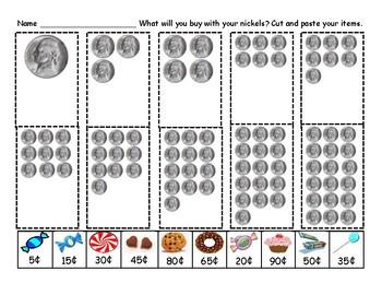 Kindergarten K-3 Money Centers Penny Nickel Dime Quarter CutPasteCountShopWrite