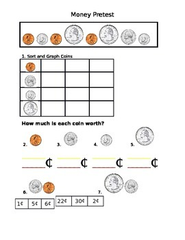 Kindergarten Money Pretest