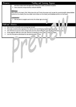 Kindergarten Money Smart Notebook and Unit of Work Bundle 1