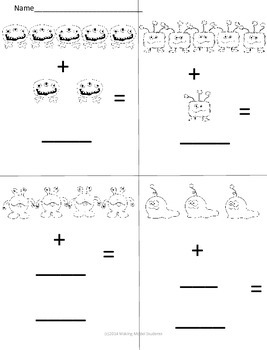 Kindergarten Monster Addition 0s-5s (K.OA.A.5)