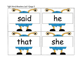 Monster Sight Word Flashcards or Word Wall Words