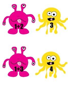 Kindergarten Monster-Themed Addition/Subtracting Matching (K.OA.A.5)