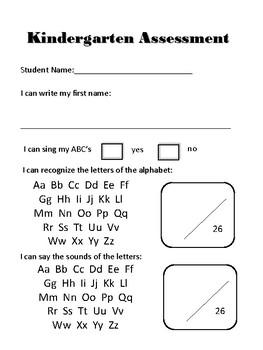Kindergarten Monthly Assesment