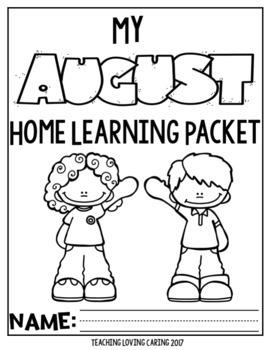 Back to School Kindergarten Monthly Homework - August