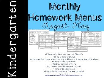 Kindergarten Monthly Homework Menus August- May