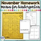 Kindergarten Homework Menu November