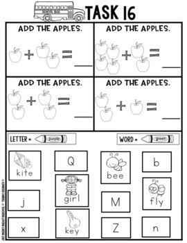 Kindergarten Homework / Morning Work - September