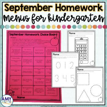 Kindergarten Homework Menu September