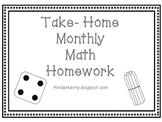 Kindergarten Monthly Math Homework Packet