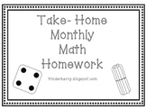 Kindergarten Monthly Math Homework Packet