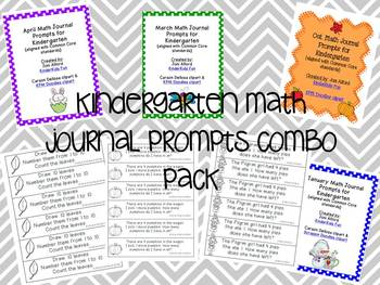 Kindergarten Monthly Math Journal Prompts Combo Pack (aligned with CC standards)