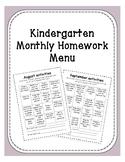 Kindergarten Monthly Menu Homework