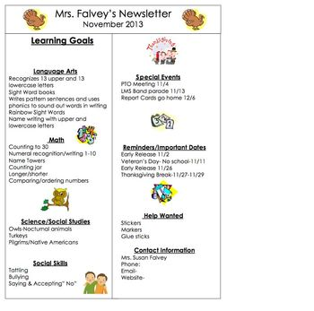 Kindergarten Monthly Newsletters