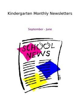 Kindergarten Monthly Newsletters September-June