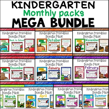 Kindergarten Monthly Packs MEGA BUNDLE