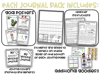 Kindergarten Writing Journals Monthly Themed Print & Go Year-Long BUNDLE