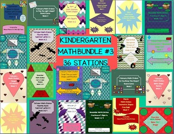 Kindergarten Monthly Themed Math Station Bundle Pack #3 CC Aligned B2S