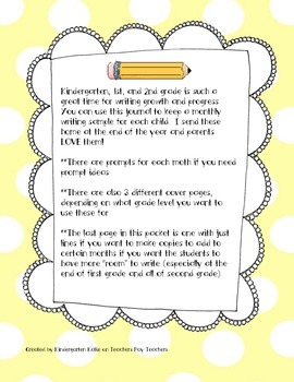 Kindergarten, First, and Second Grade Monthly Writing Journals