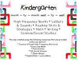 Kindergarten Months at a Glance (Month by Month, Week by Week)