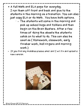 Kindergarten Morning Brain Busters- Bell Ringers / Morning Work / Math & ELA Nov