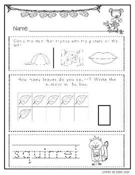 Kindergarten Morning Busy Work: Autumn Writing, Thinking, and Math - NO PREP