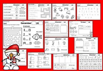 Kindergarten Morning Work (No-Prep) December