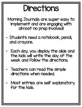 Kindergarten Morning Journal GROWING BUNDLE