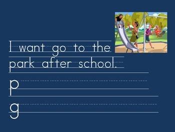 Kindergarten: Morning Journal for words: went/want