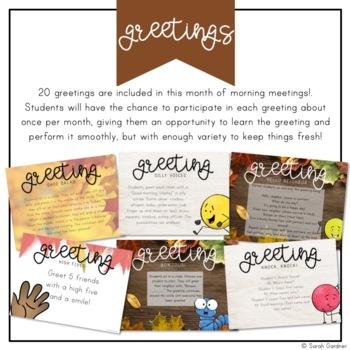 Kindergarten Morning Meeting Messages - November