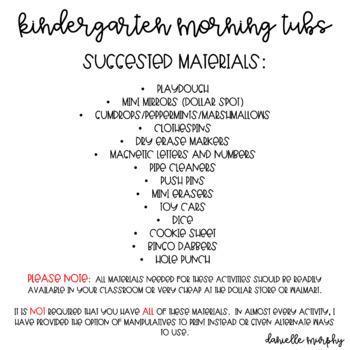 Kindergarten Morning Tubs or Bins for December