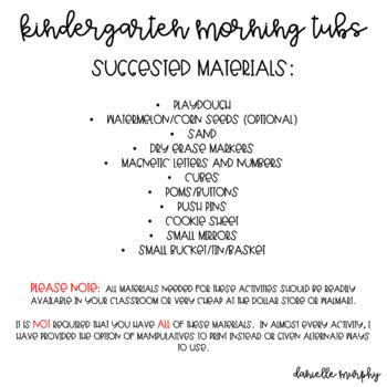 Kindergarten Morning Tubs or Bins for June