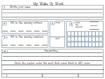 Kindergarten Morning Word Blank Template for Students