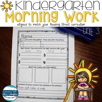 Kindergarten Morning Word Work Unit 3