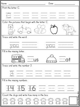 Back to School Morning Work First Grade - August/September