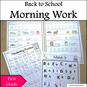 Back to School Morning Work First Grade