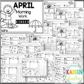 Kindergarten Morning Work-April