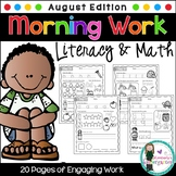 Morning Work! August Edition, Literacy & Math. 20 Pages of