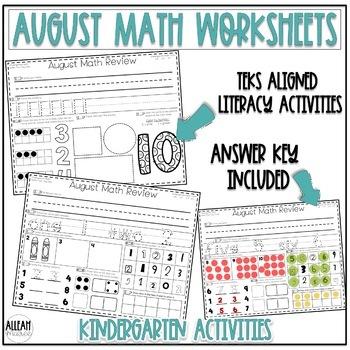 Kindergarten Morning Work {August Math}