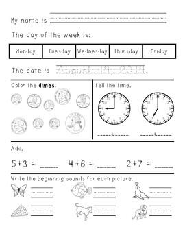 Kindergarten/First Grade Morning Work August through December