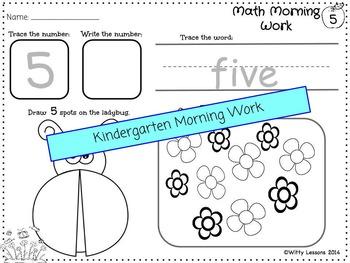Kindergarten Morning Work: Back to School