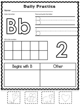 Kindergarten Morning Work: Beginning Sounds and Counting