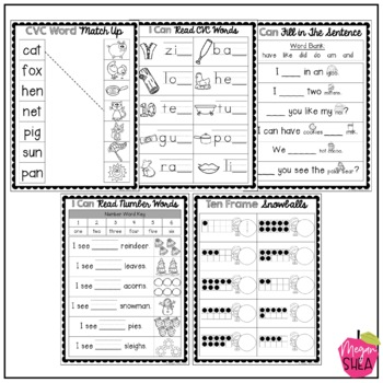 Kindergarten Morning Work Book January
