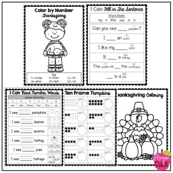 Kindergarten Morning Work Book November