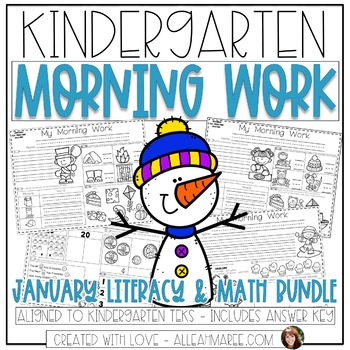 Kindergarten Daily Review: Morning Work, Warm-Ups, Printables BUNDLE {January}